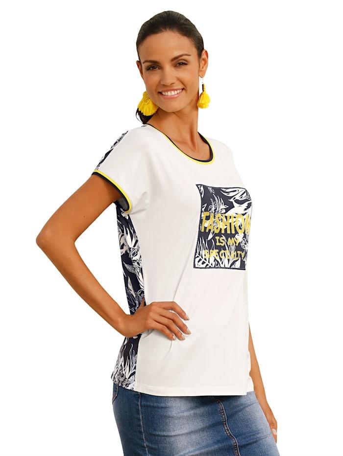 AMY VERMONT Shirt mit Pailletten im Vorderteil, Off-white/Marineblau/Gelb