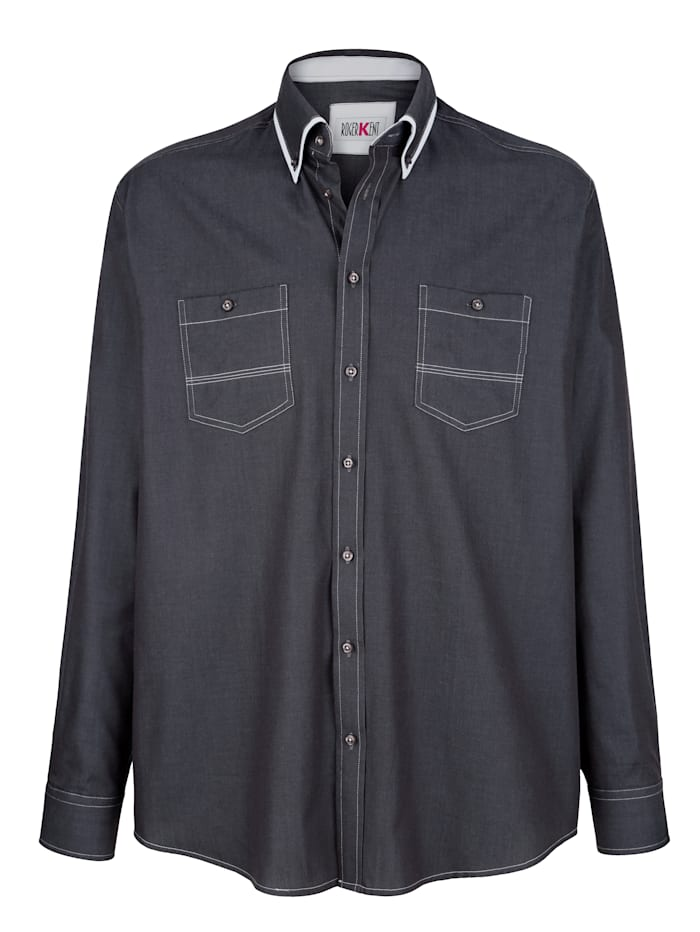 Roger Kent Bomullsskjorta med dubbelkrage, Grå/Vit