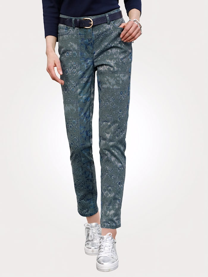 MONA Broek van jacquard, Turquoise/Blauw/Mint