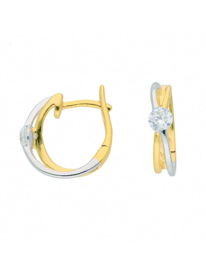 1001 Diamonds Damen Goldschmuck 375 Bicolor Ohrringe / Creolen mit Zirkonia, gold