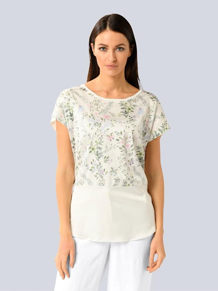 Alba Moda Shirt mit Webeinsatz im Vorderteil, Weiß/Rosé/Grün/Blau