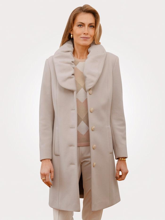 MONA Wollen mantel met geplooide sjaalkraag, Crème
