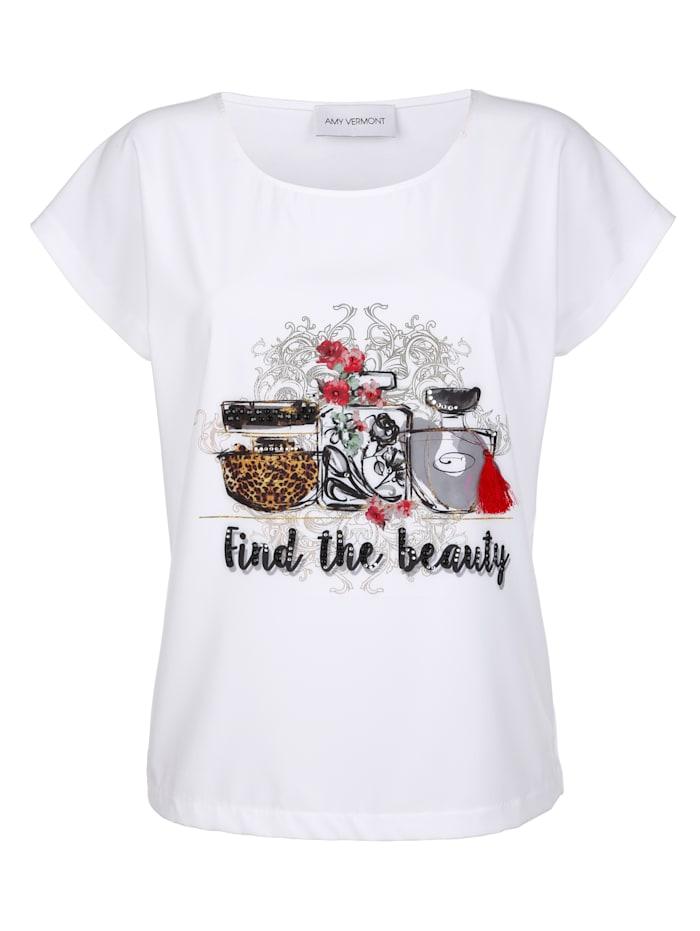 Shirt mit Parfum-Druck und Strasssteindeko
