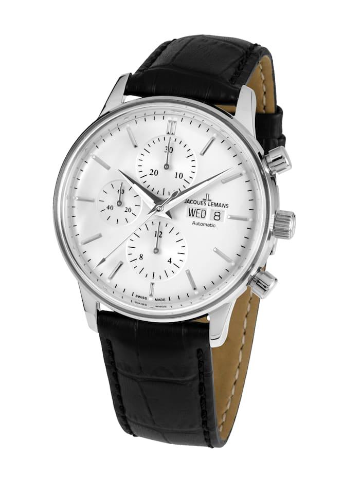 Jacques Lemans Herren-Uhr-Automatik-Chronograph Serie: Retro Classic Valjoux: N- 208A, Schwarz