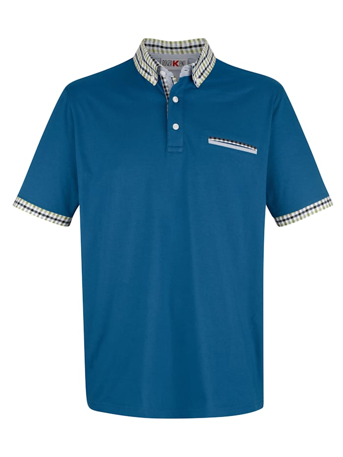 Roger Kent Poloshirt mit Kontrastverarbeitung, Blau