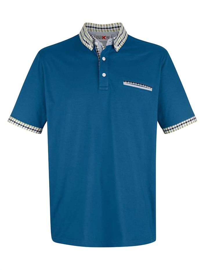 Roger Kent Poloshirt met contrasterende details, Blauw