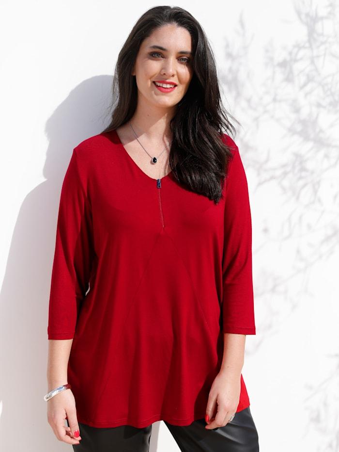 MIAMODA Shirt mit dezentem Reißverschluss am Ausschnitt, Rot