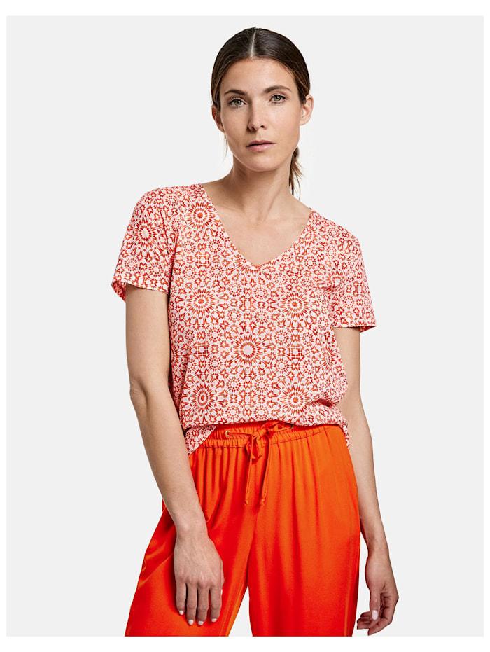 Gerry Weber Shirt mit Ausbrennermuster, Rot/Orange/Schwarz Druck