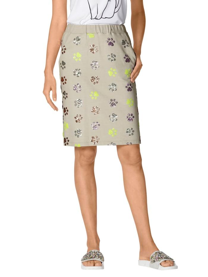 AMY VERMONT Jersey rok met pootjesdessin van gekleurde pailletten, Beige