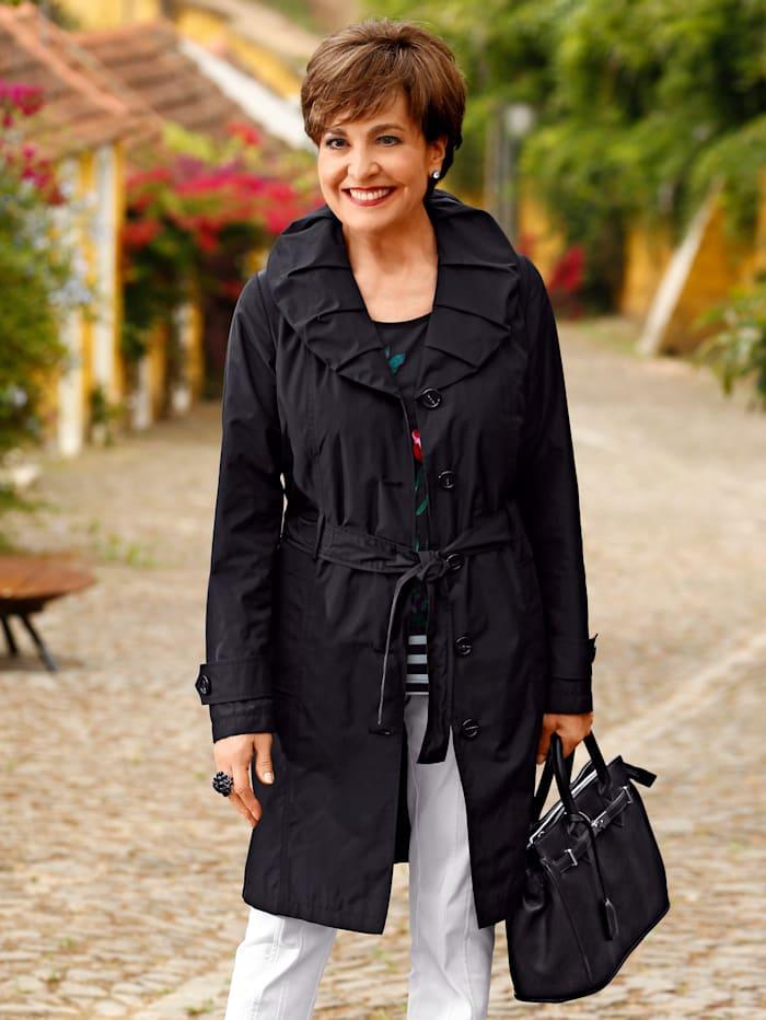 Paola Manteau court à grand col généreux, Noir
