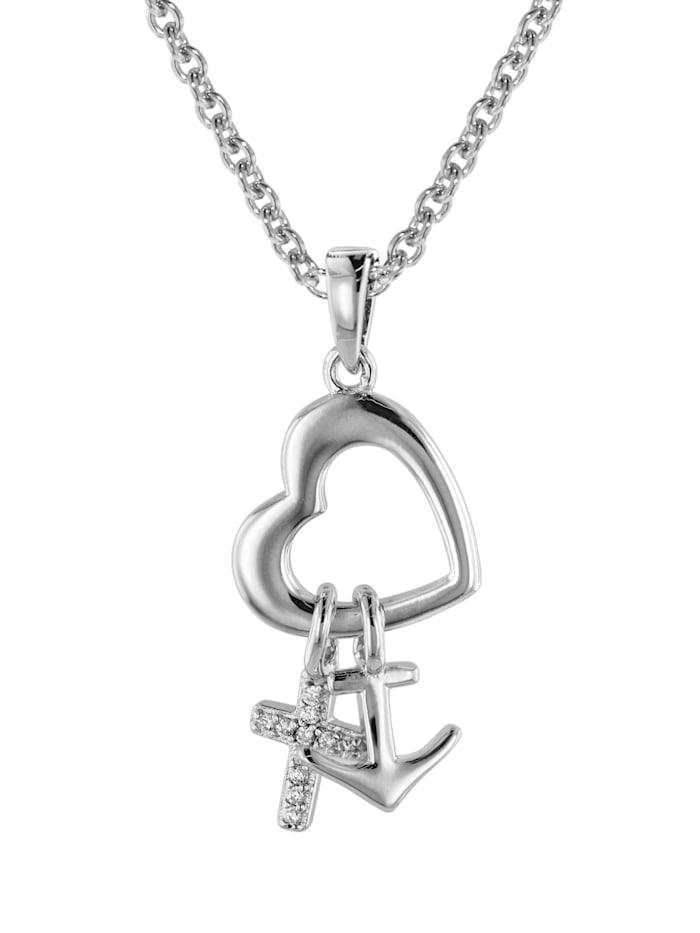 trendor Glaube Liebe Hoffnung Anhänger mit Halskette Silber 925, Silberfarben