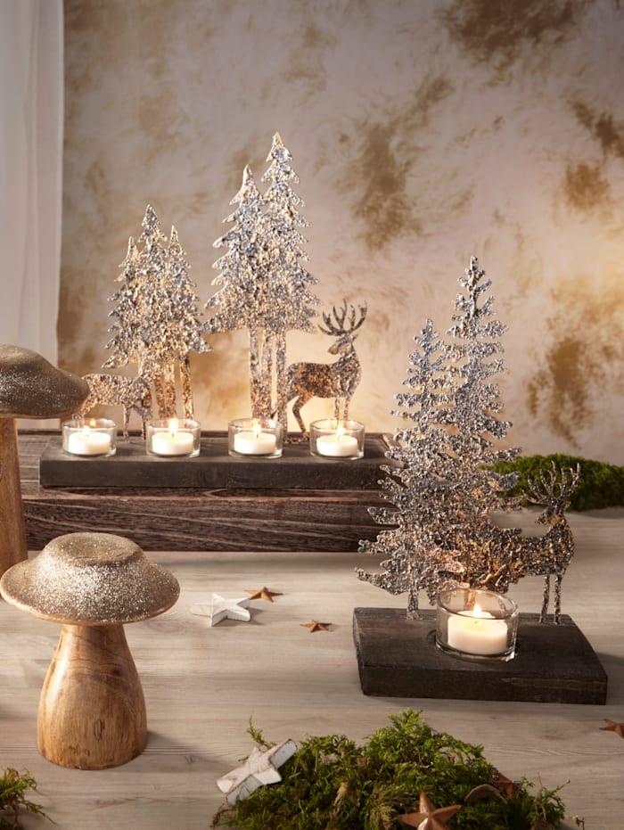 Creativ Deco Photophore avec paysage d'hiver, Écru