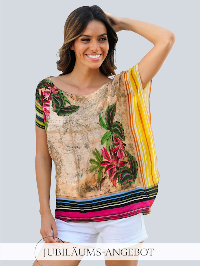 Alba Moda Strandshirt in lässiger Tücheroptik, Beige