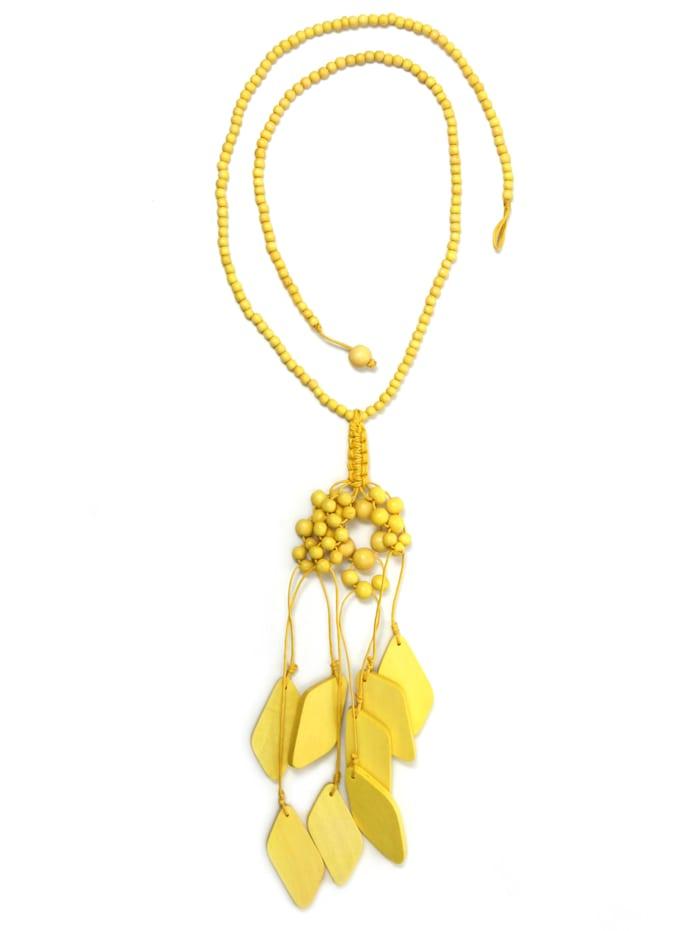 Collezione Alessandro Lange Kette Nanni Behang aus Holzperlen und -elementen, gelb