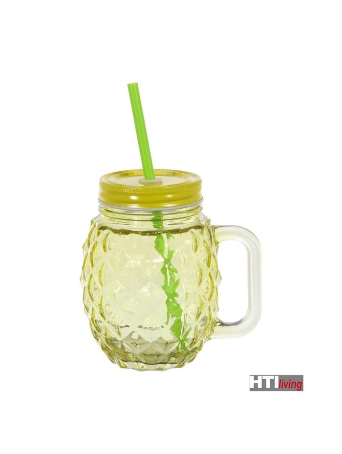 Trinkglas mit Deckel und Trinkhalm Ananas