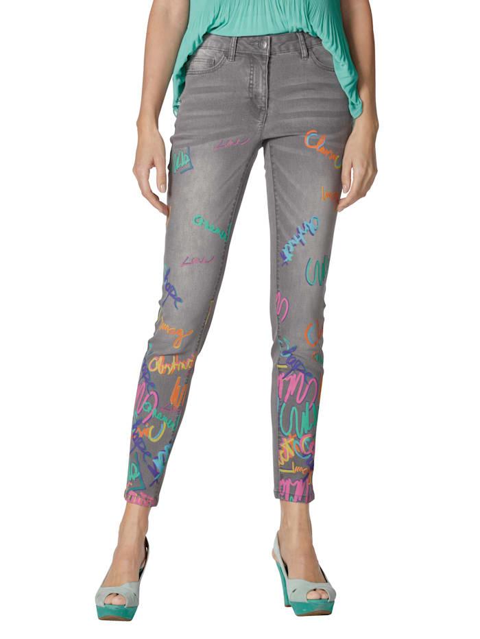 AMY VERMONT Jeans mit Druck im Vorderteil, Grau