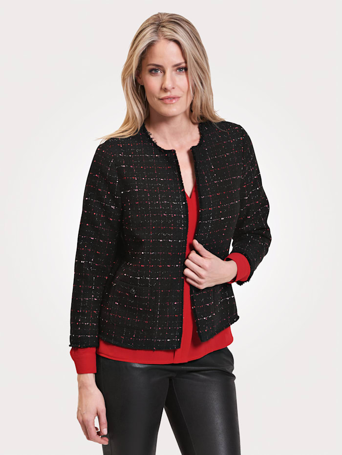 Toni Blazer with raw edge trims, Red/Black