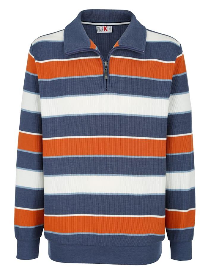 Roger Kent Sweatshirt med garnfärgade ränder, Blå/Terrakotta/Benvit
