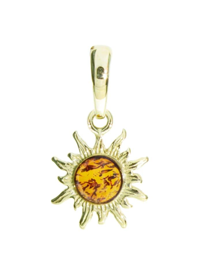 OSTSEE-SCHMUCK Anhänger - Sonne - Gold 333/000 - Bernstein, gelb