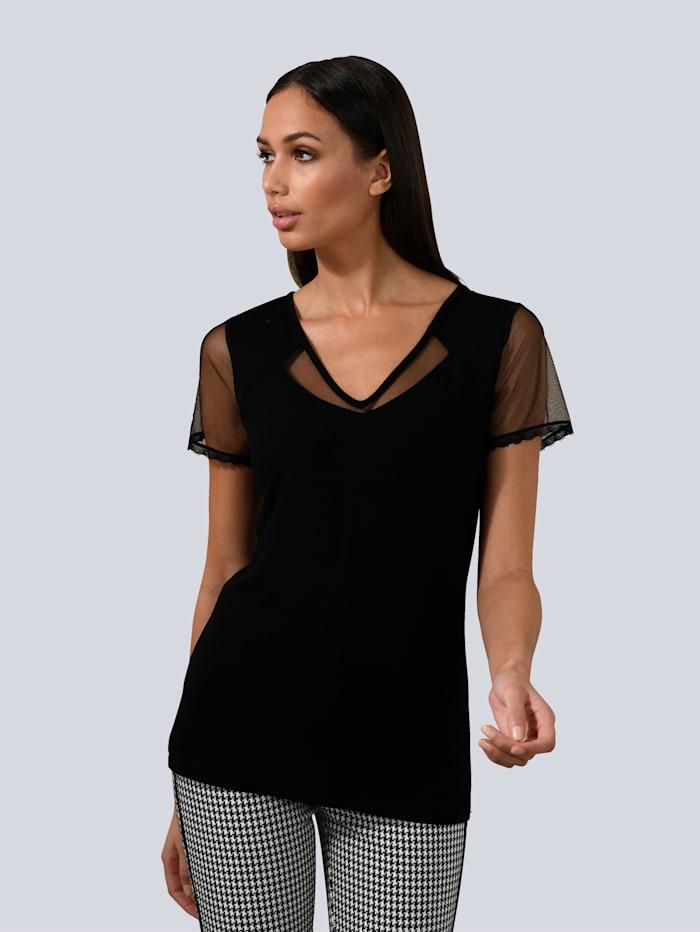 Alba Moda Shirt mit transparentem Mesh-Einsatz, Schwarz