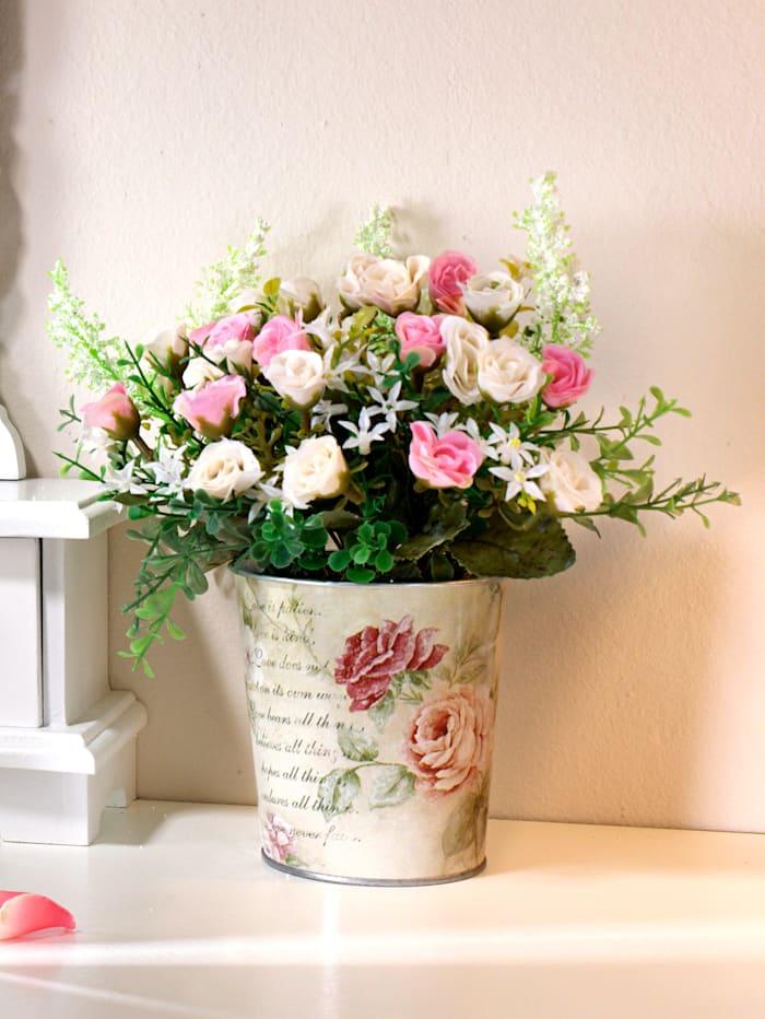 Mini růže v kovovém květináči, Růžová