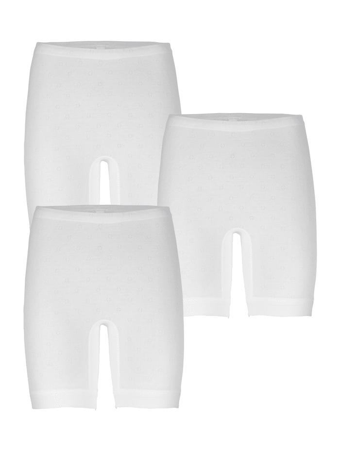 Speidel Langbeinschlüpfer im 3er Pack mit Ajour-Muster, Weiß