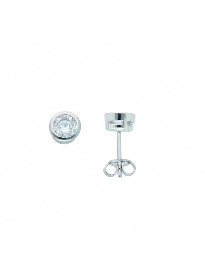 1001 Diamonds Damen Silberschmuck 925 Silber Ohrringe / Ohrstecker mit Zirkonia Ø 6,5 mm, silber