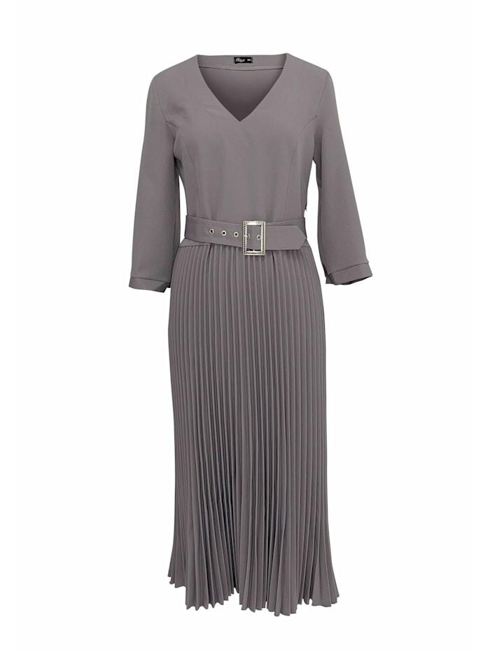 Wisell Plisseekleid mit V-Ausschnitt und Gürtel, grau