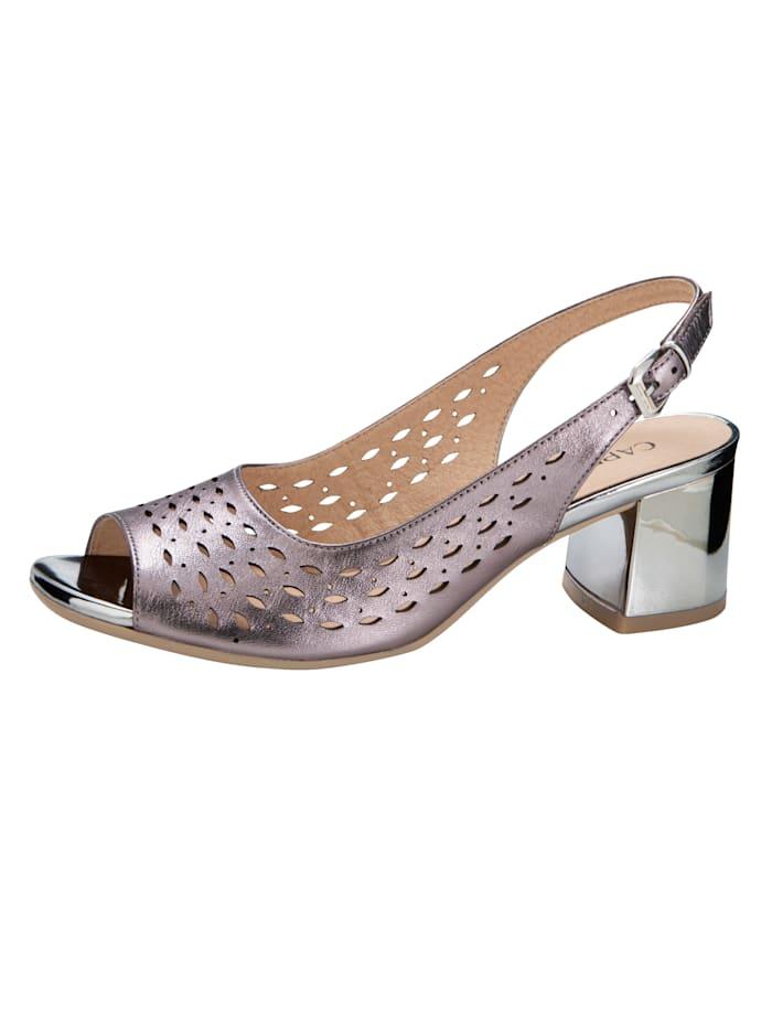 Caprice Sandale mit sommerlichen Durchbrüchen, Flieder