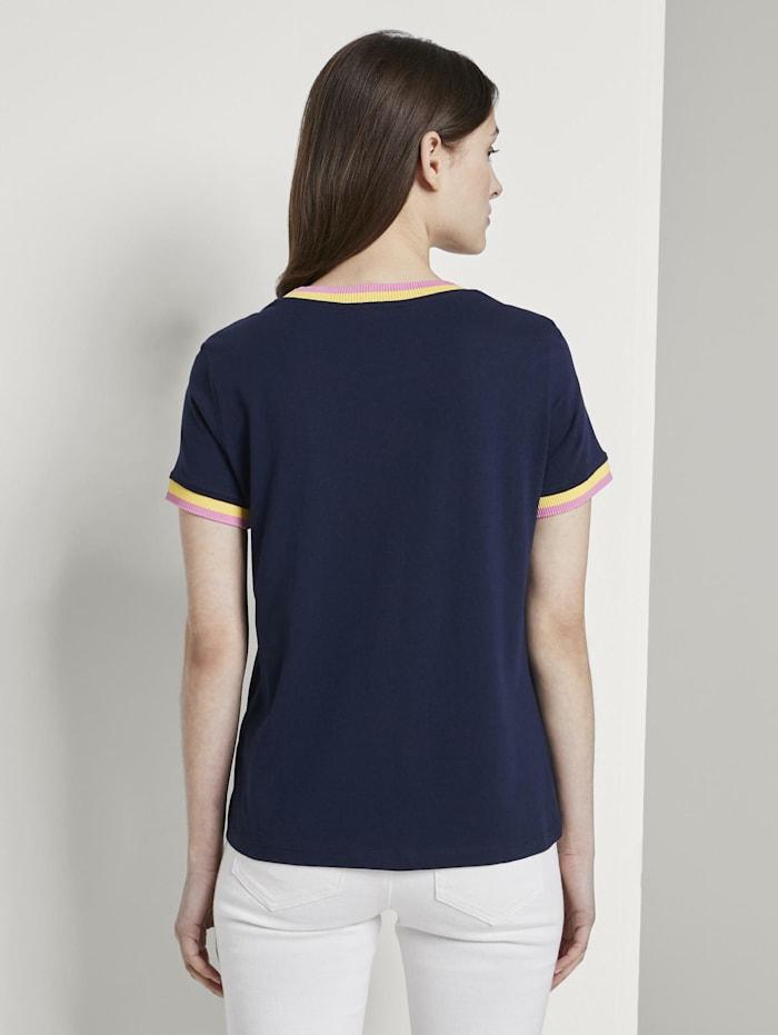 Jersey T-Shirt mit Kontrast-Details