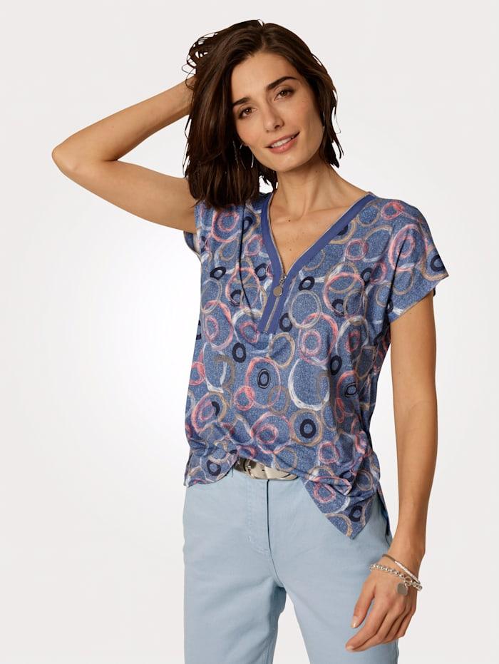 MONA T-shirt à encolure raffinée, Bleu/Rose/Écru