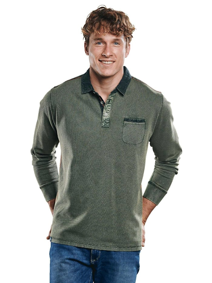 Engbers Poloshirt mit wertigen Details, Khakigrün