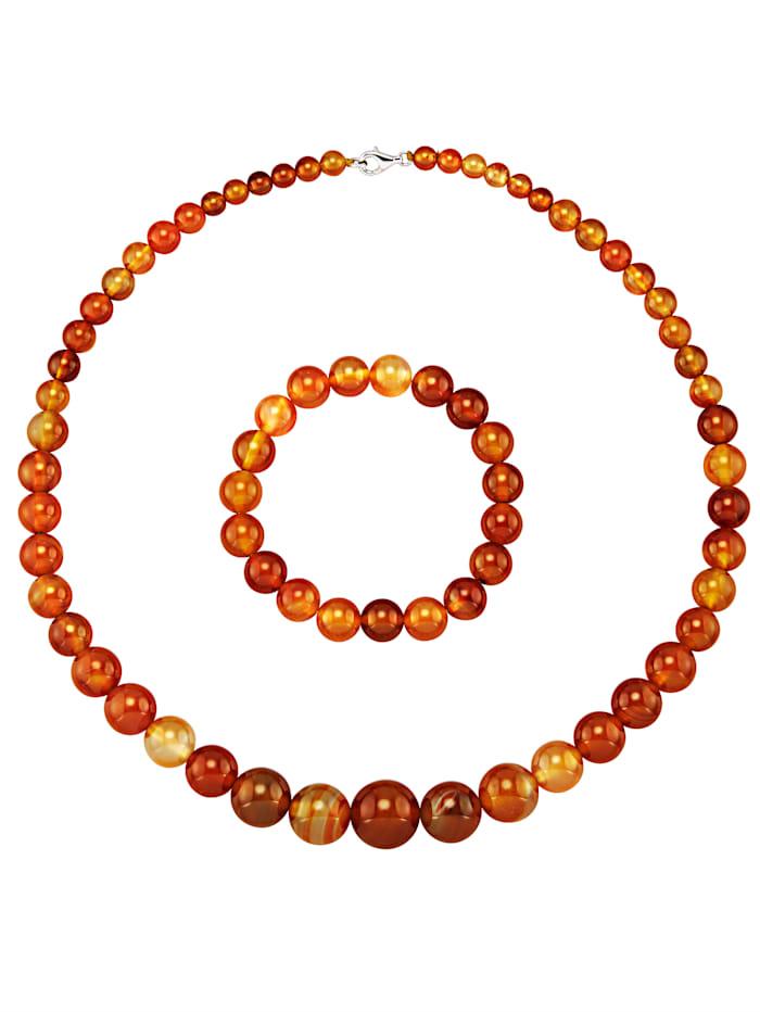 Amara Pierres colorées Parure bijoux 2 pièces, Rouge