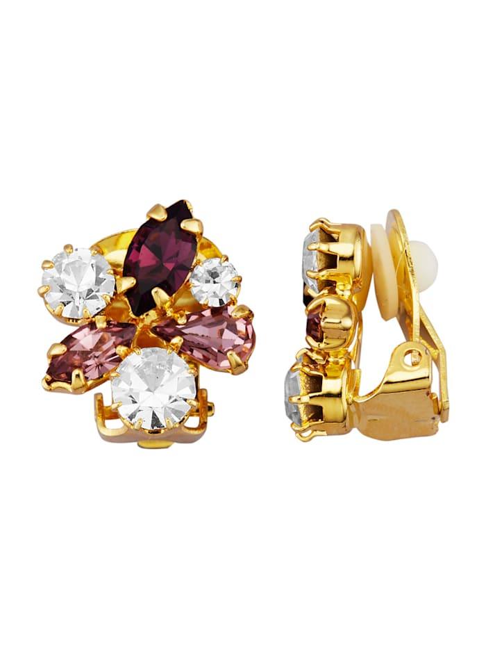 Golden Style Oorclips met kristalsteentjes, Paars
