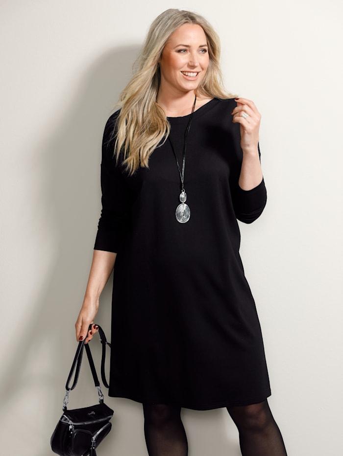 MIAMODA Kleid mit femininem Ausschnitt, Schwarz