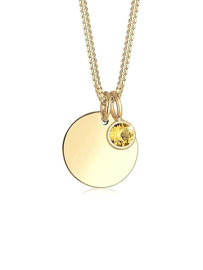 Elli Halskette Geburtsstein Farbe Kristalle 925 Silber, Gelb
