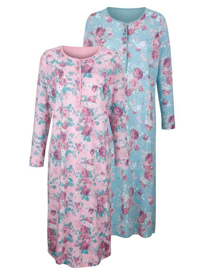 Harmony Nachthemden per 2 stuks met bloemendessin, Jadegroen/Oudroze