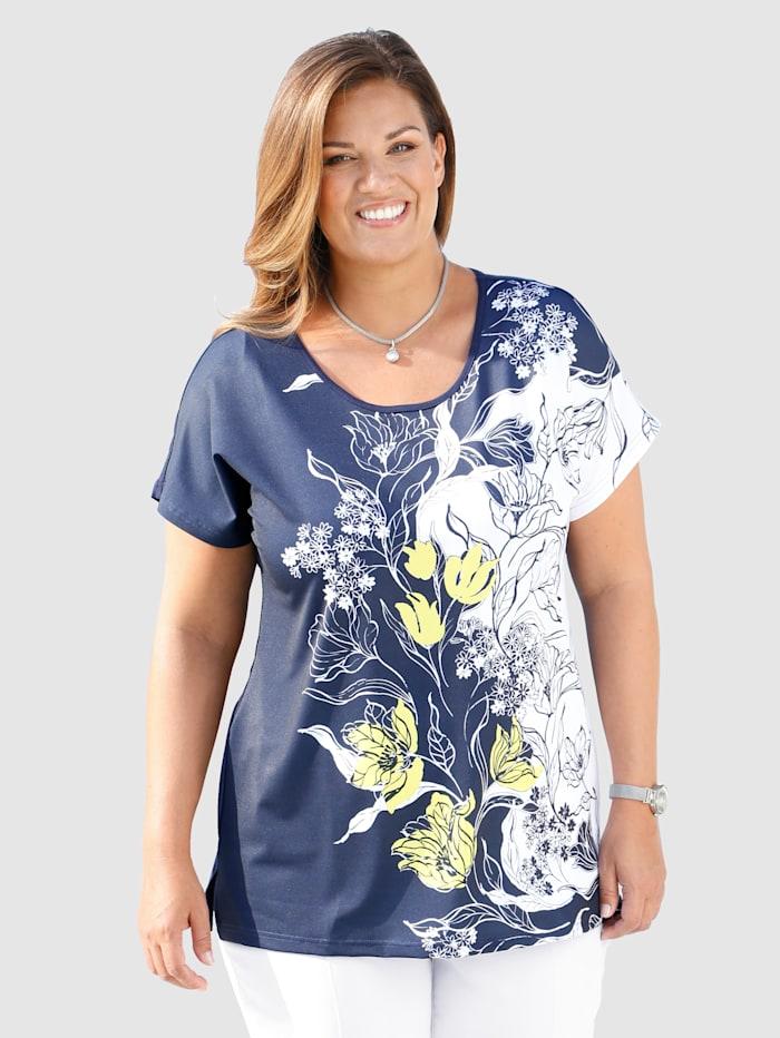 m. collection Shirt mit kontrastfarbenem Druckdessin im Vorderteil, Marineblau/Weiß/Gelb