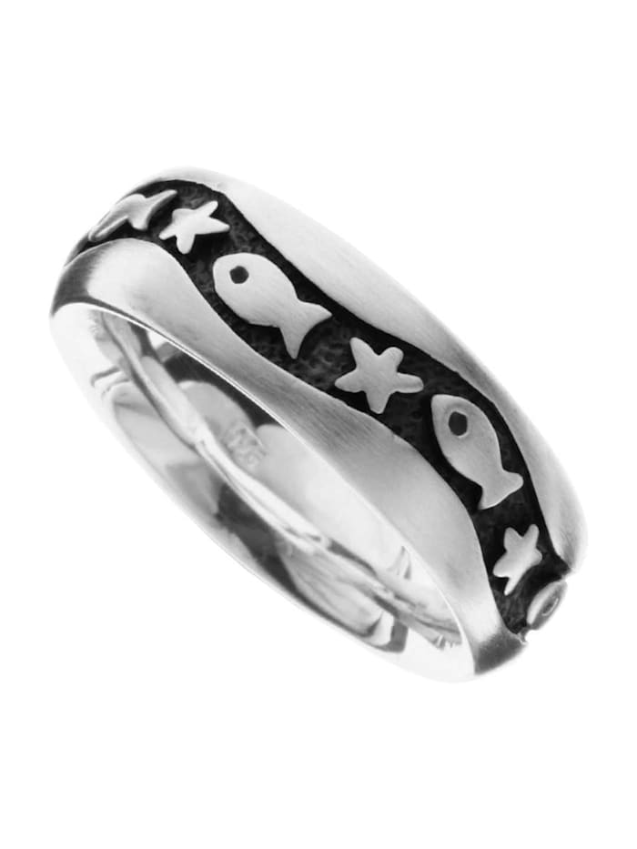 OSTSEE-SCHMUCK Ring - Fisch & Stern - Silber 925/000 - ,, silber