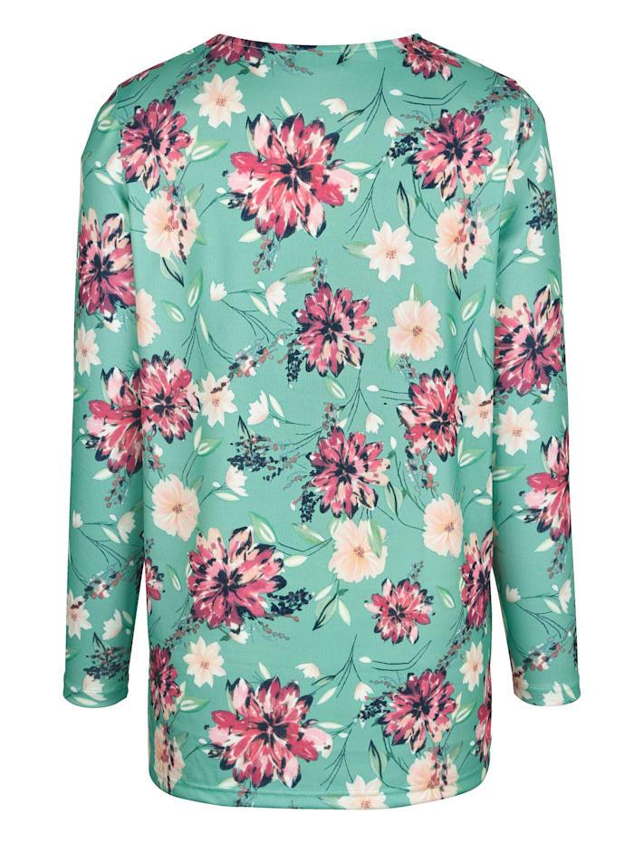 Pletené tričko s kvetinovým vzorom