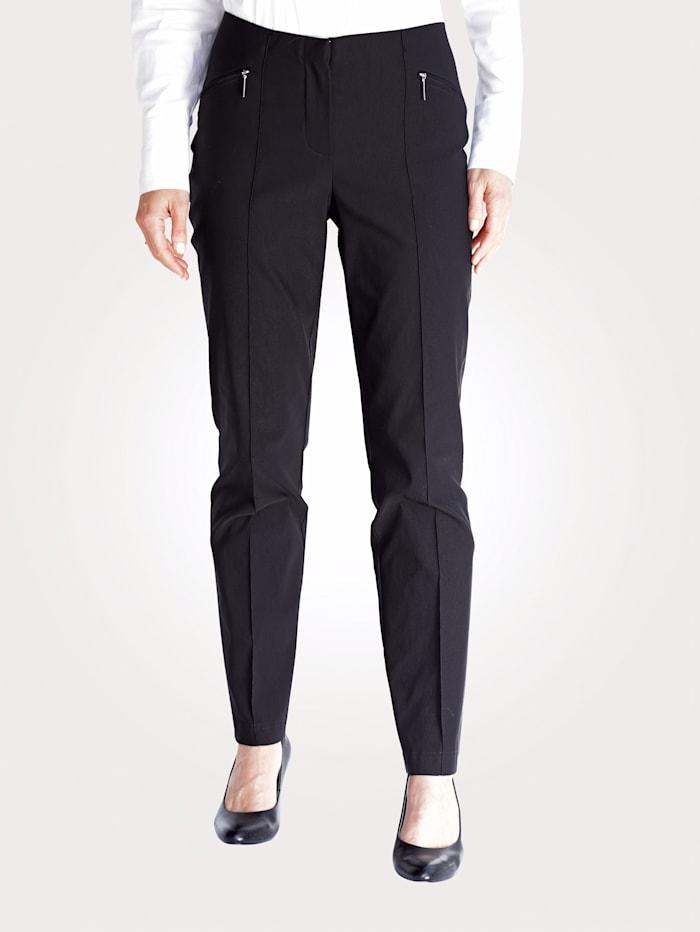 MONA Hose mit Reißverschlusstaschen, Schwarz