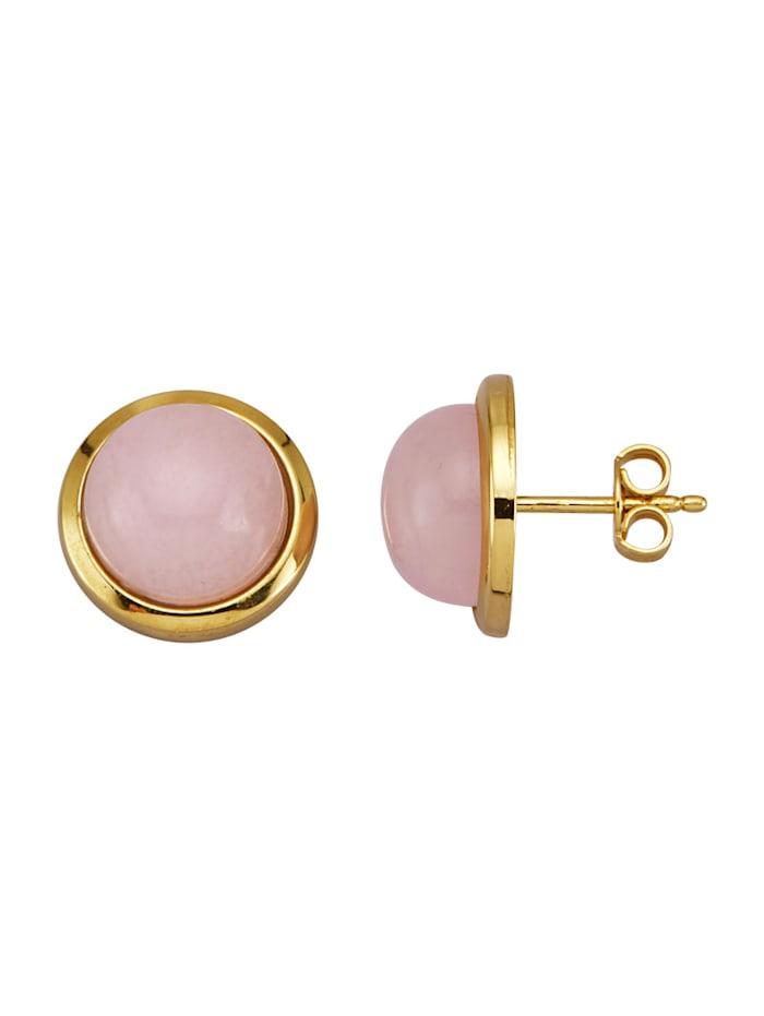 Amara Pierres colorées Boucles d'oreilles en or jaune 585, Rose