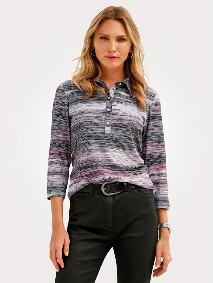 MONA Polo shirt with a striped pattern, Black/Rose/Grey
