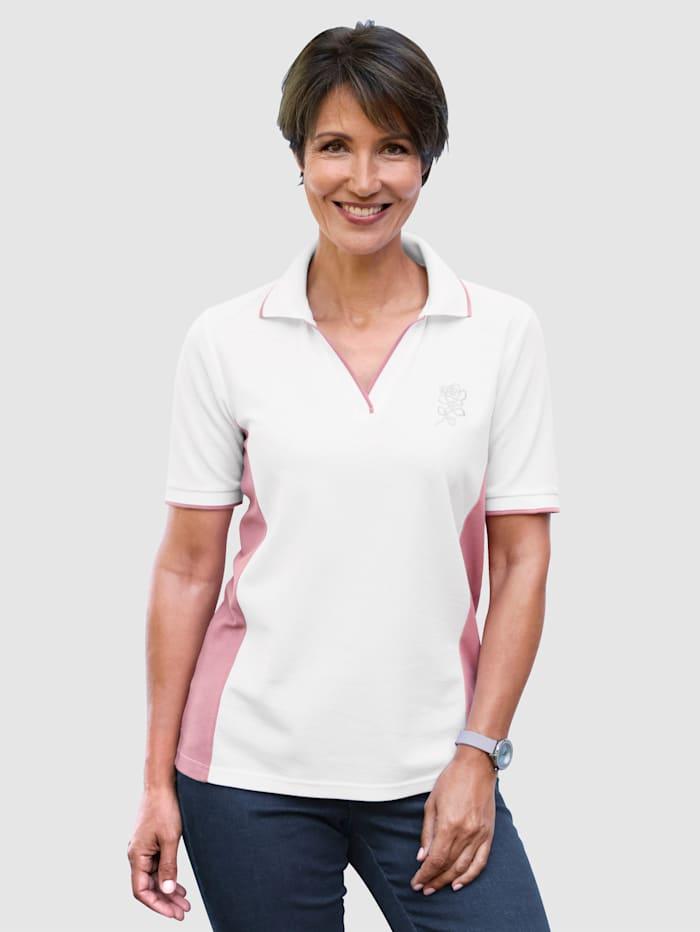 Paola Poloshirt mit Strassmotiv, Weiß/Altrosa