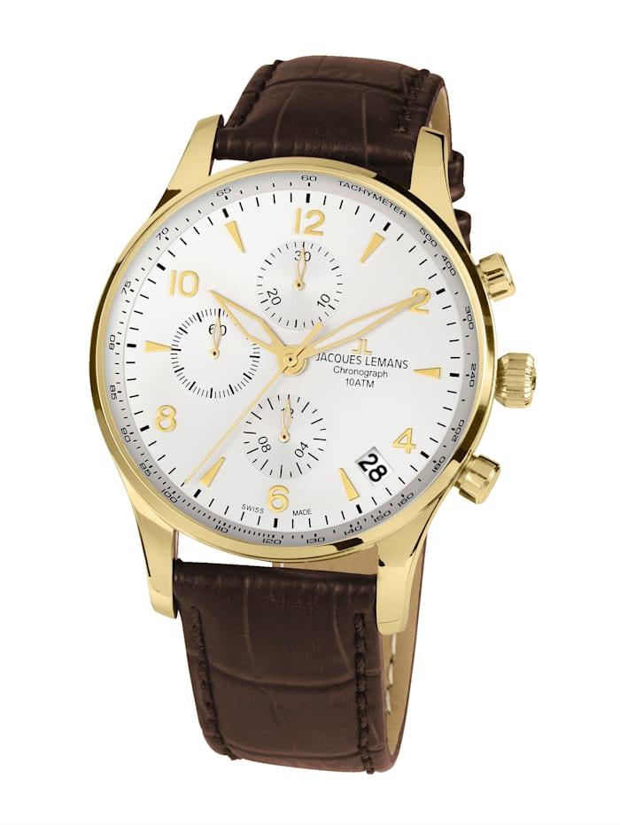 Jacques Lemans Herren-Uhr-Automatik-Chronograph Serie: London Automatic, Kollektion: Classic: 1- 1935C, Dunkelbraun