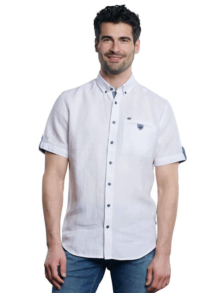 Engbers Kurzarm-Hemd aus Leinenstoff, Reinweiss