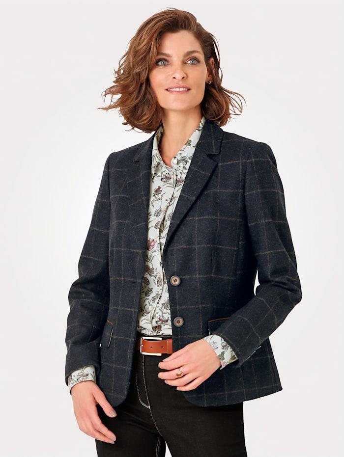 MONA Blazer in pure Merino virgin wool, Navy/Brown