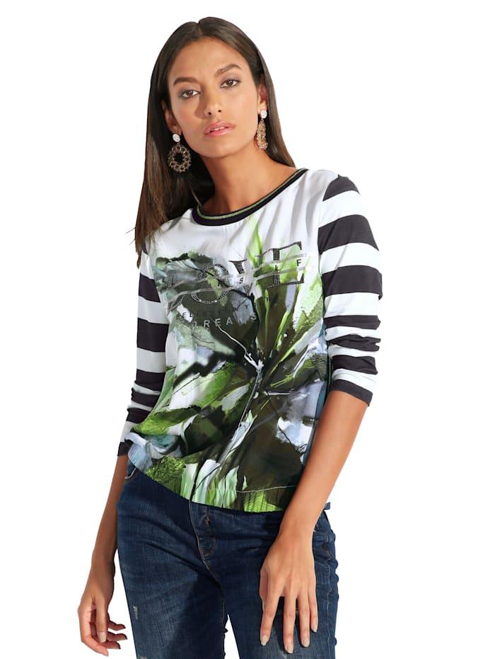 Public Shirt mit dekorativem Material- und Mustermix, Off-white/Grün/Schwarz