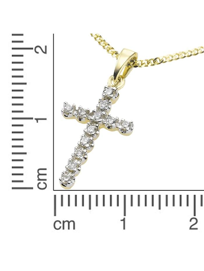 Anhänger mit Kette 585/- Gold Diamant weiß Diamant 42/45 cm Glänzend 0,12ct.