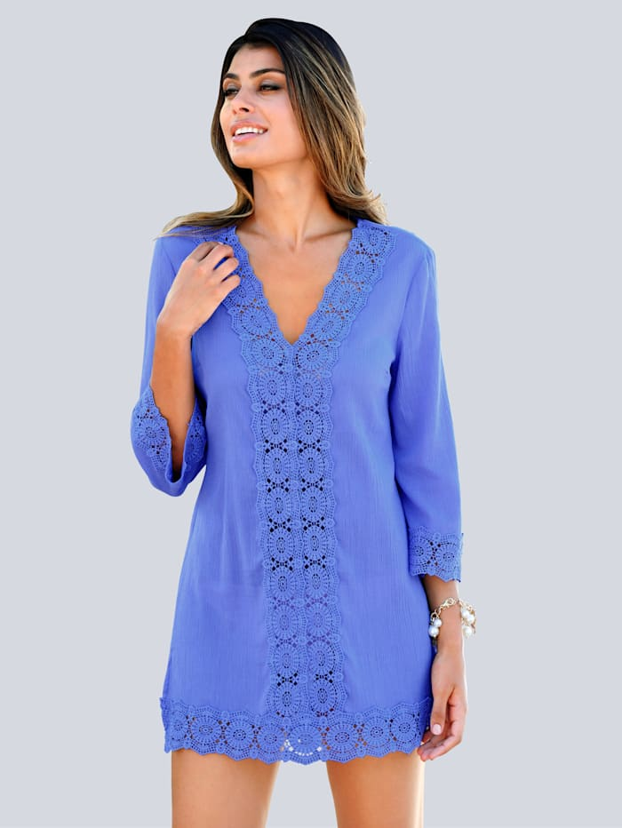 Alba Moda Tunique à dentelle, Bleu